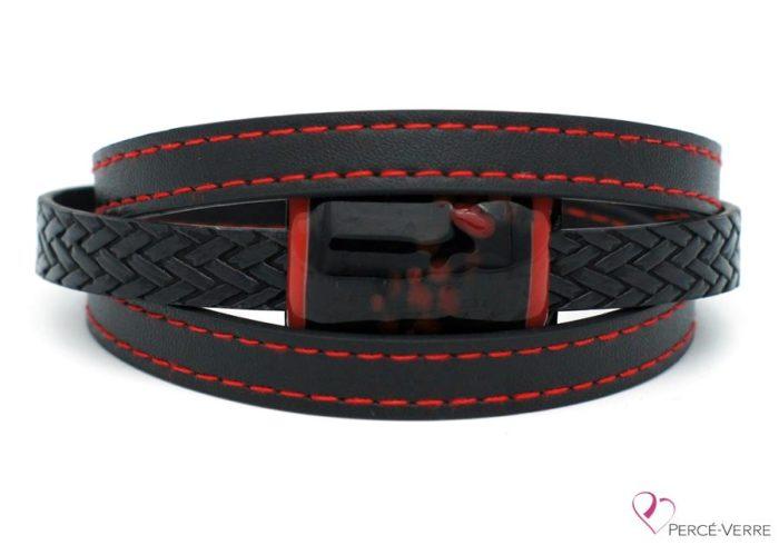 Bracelet en cuir noir et rouge pour homme #185-2