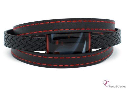 Bracelet en cuir noir et rouge pour homme #185-3