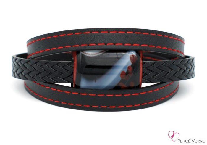 Bracelet en cuir noir et rouge pour homme #185-4