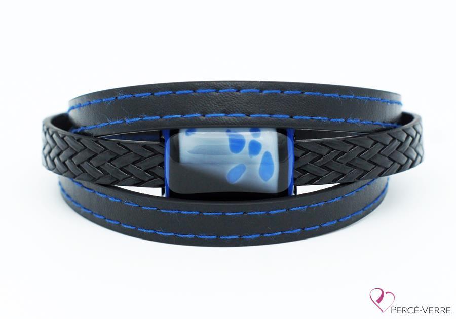 Bracelet en cuir noir et bleu pour homme #189-1