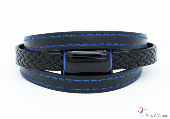 bracelet en cuir noir et bleu pour homme 189-2