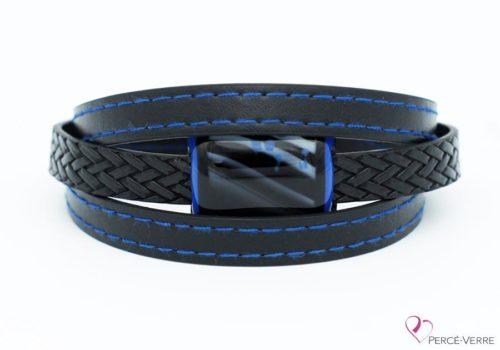 bracelet en cuir noir et bleu pour homme 189-4