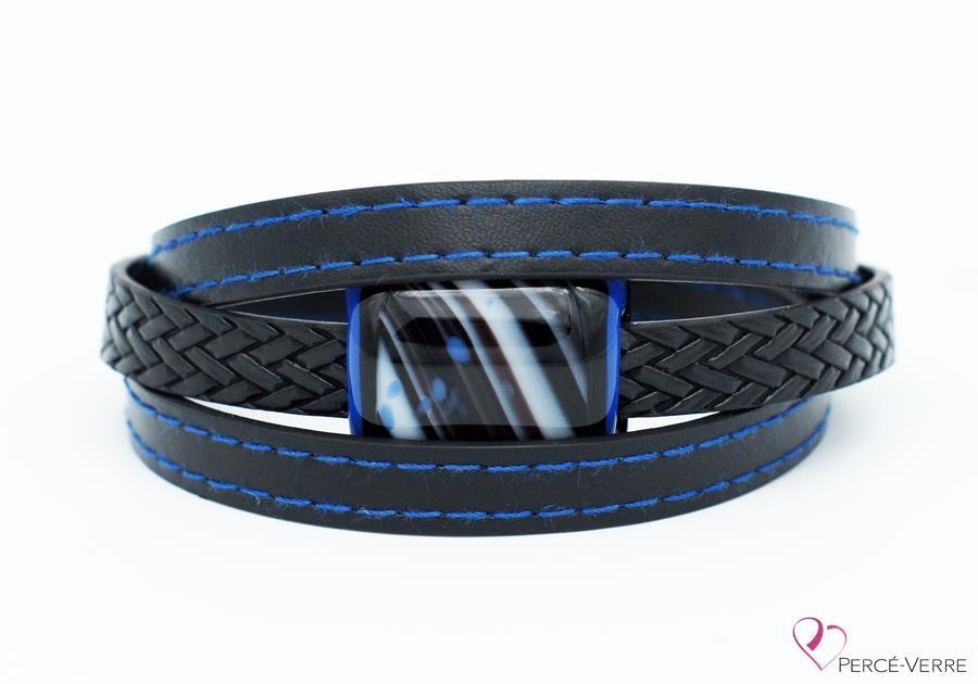bracelet en cuir noir et bleu pour homme 189-5
