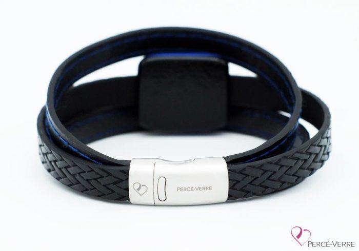 bracelet en cuir noir et bleu pour homme 189