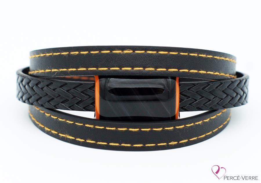 Bracelet en cuir noir et orange pour homme #187-1