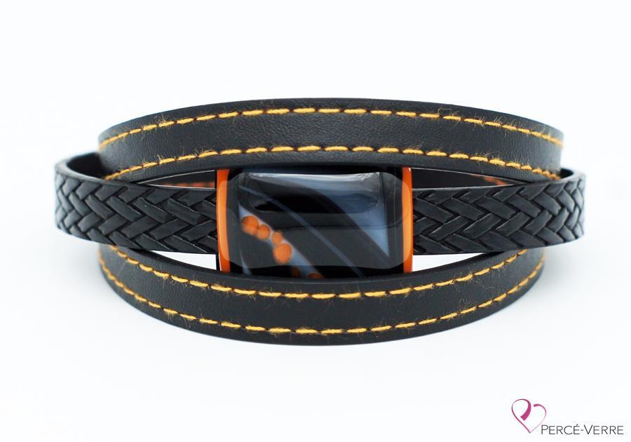 Bracelet en cuir noir et orange pour homme #187-4
