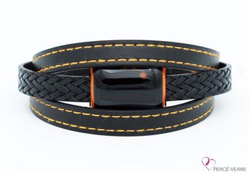 Bracelet en cuir noir et orange pour homme #187-6