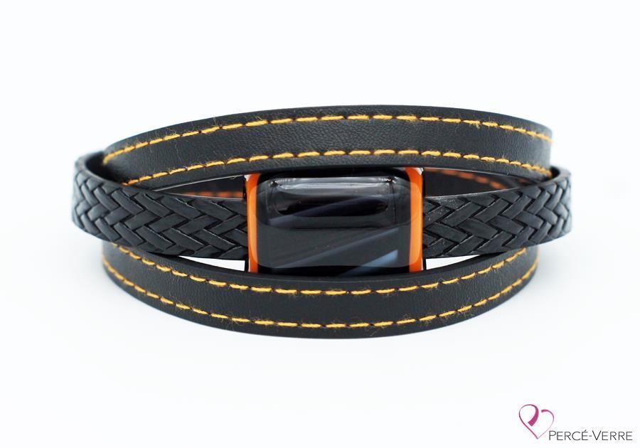 Bracelet en cuir noir et orange pour homme #187-8