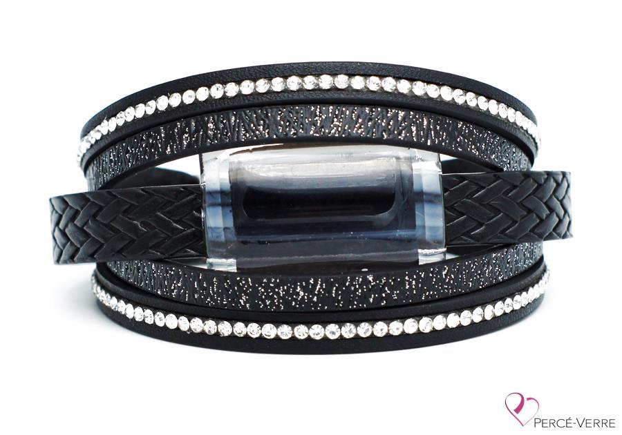 Bracelet en cuir noir et zircons pour femme, collection Super Fashion #250