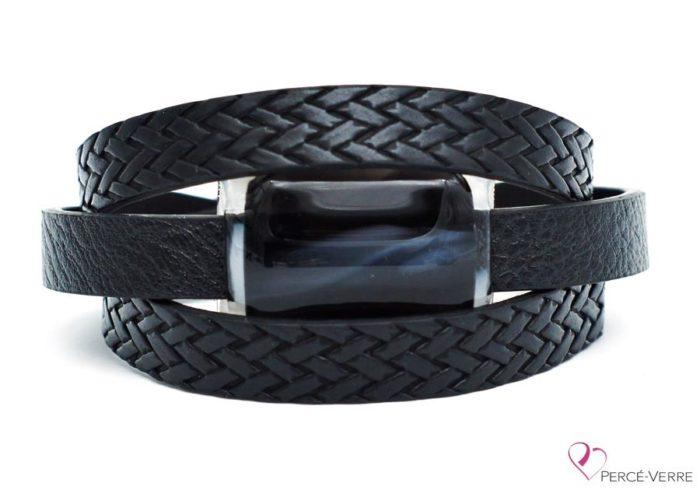 Bracelet en cuir noir tressé pour femme, collection Super Fashion #251