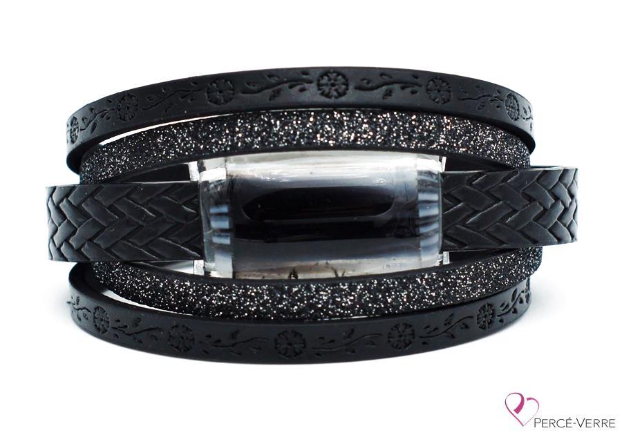 Bracelet à motif fleur en cuir noir pour femme, collection super fashion #252