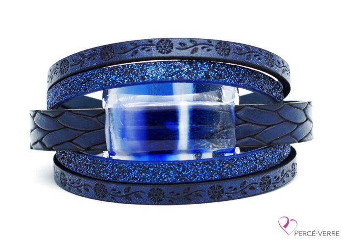 Bracelet à motif fleur en cuir bleu pour femme avec bijou de verre #262