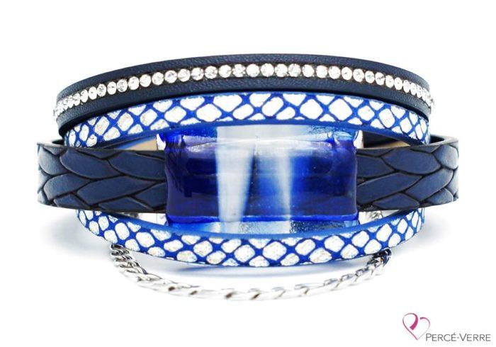 Bracelet en cuir bleu et blanc pour femme avec bijou de verre, collection Super fashion #260