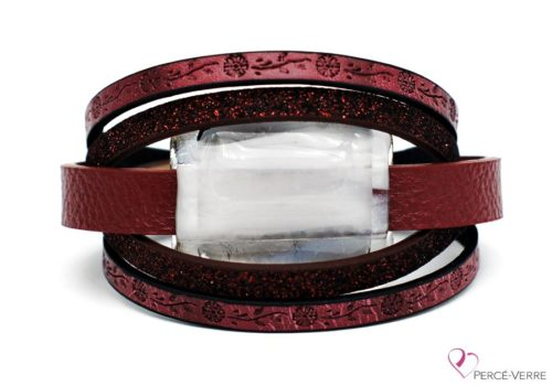 Bracelet à motif fleur en cuir bourgogne pour femme #272
