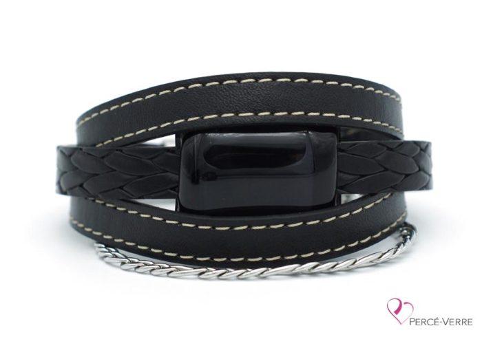 Bracelet en cuir noir avec chaine en acier inoxydable pour homme #176