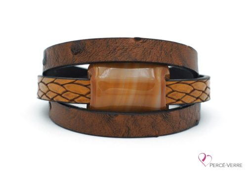 Bracelet en cuir écorce d'arbre brun pour homme #177