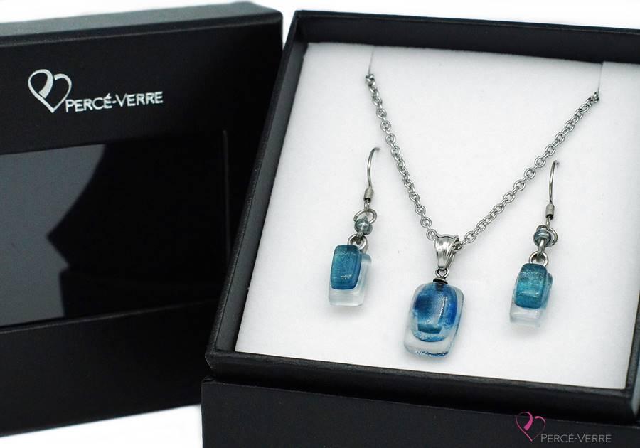 Ensemble Mini bijoux bleus jeans en verre fusionné