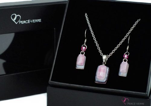 Ensemble mini bijoux roses en verre fusionné