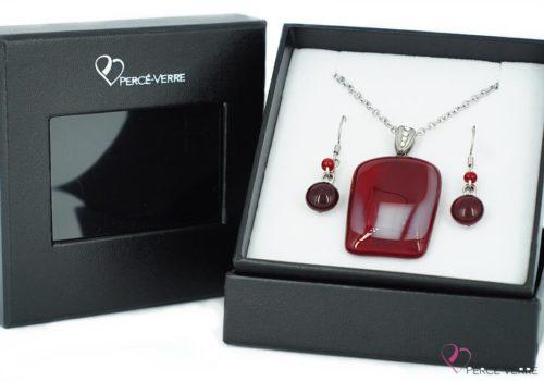 Ensemble bijoux à coloris rouge