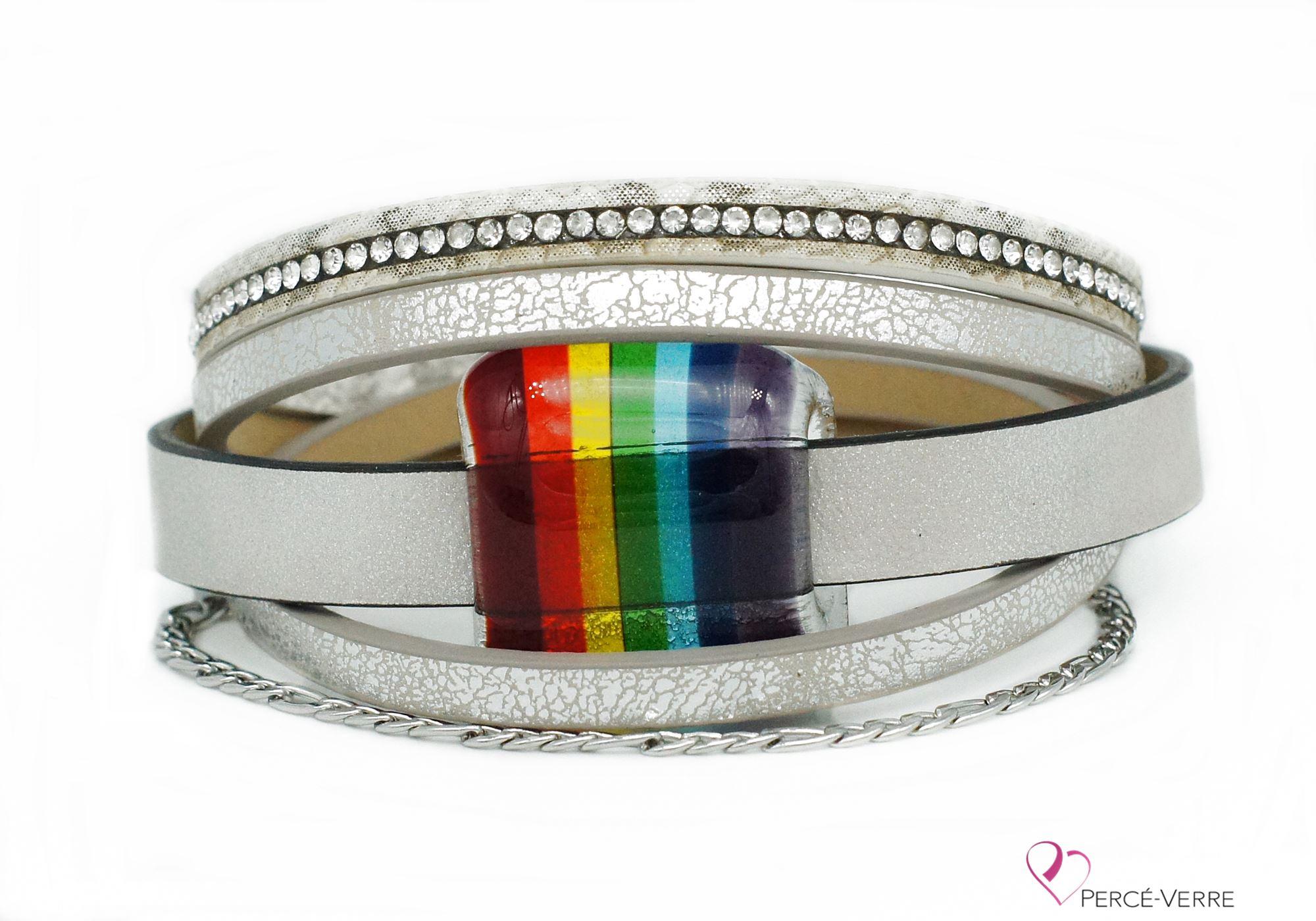 Bracelet en cuir argent avec bijou arc-en-ciel #201
