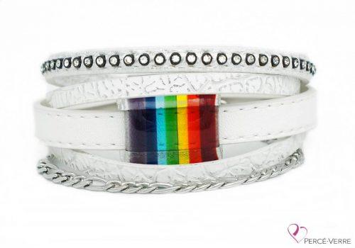 Bracelet blanc avec bijou arc-en-ciel #202