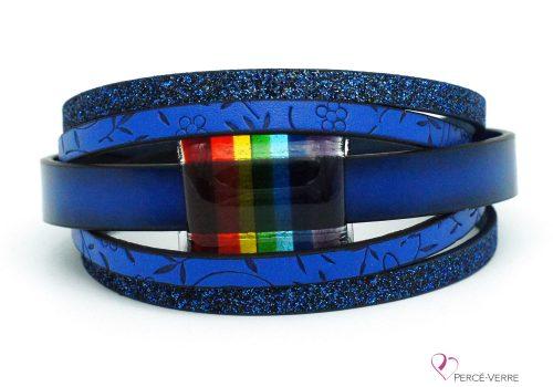 Bracelet bleu avec bijou arc-en-ciel #204