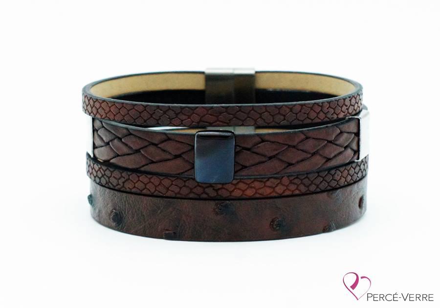 Bracelet large en cuir brun pour homme #401
