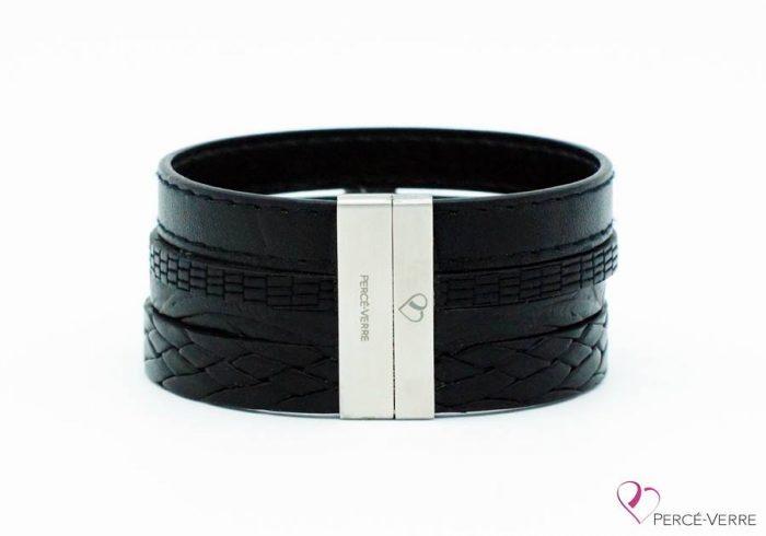 Bracelet large en cuir noir pour homme #400