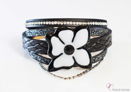 """Bracelet cuir et verre pour femme, Collection """"Fleur"""" #159FN"""