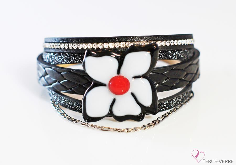 """Bracelet cuir et verre pour femme, Collection """"Fleur"""" #159FR"""