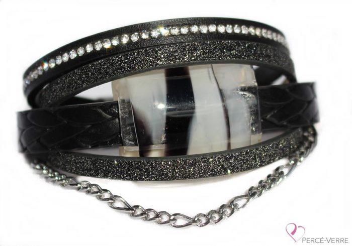 Bracelet en cuir noir scintillant #159