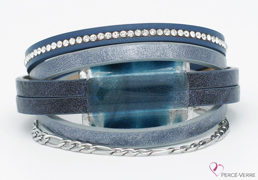Bracelet en cuir bleu jeans pour femme, collection super fashion #263