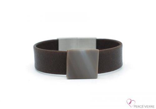 Bracelet en cuir souple brun foncé pour homme #222