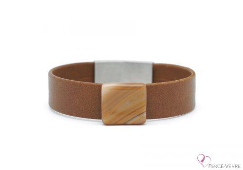 Bracelet en cuir brun caramel pour homme #223
