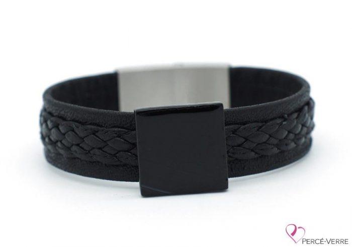 Bracelet en cuir souple noir tressé pour homme #220