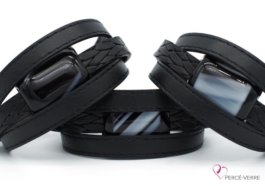 Bracelet en cuir noir pour homme #182