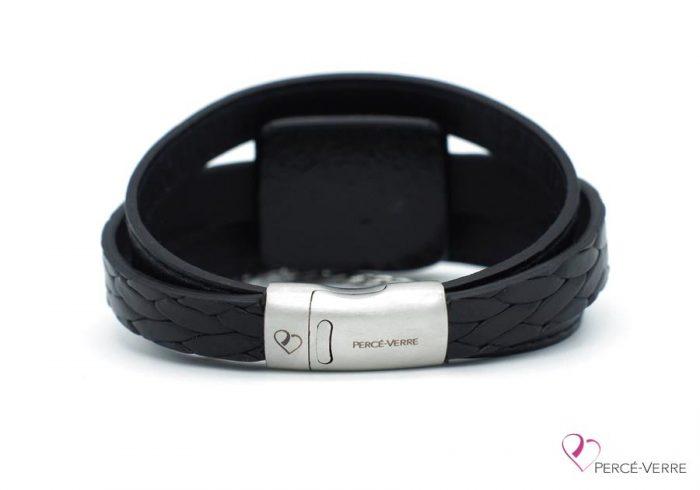 Bracelet en cuir noir avec chaine en acier inoxydable #183