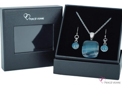 Ensemble-bijoux bleus jeans pendentifs-Boucles-d'oreilles-blue-bleu jeans collection classique