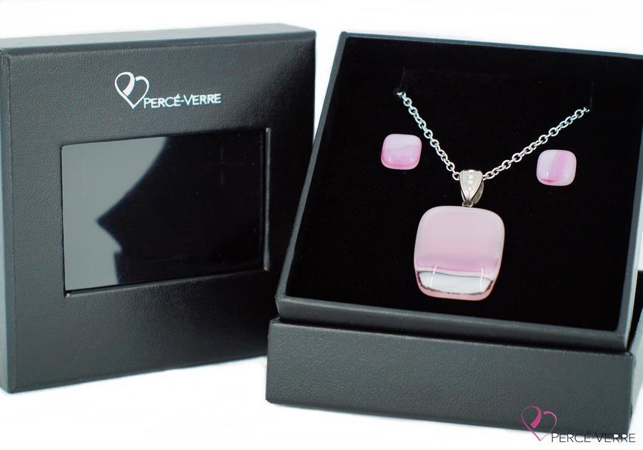 """Ensemble bijoux rose en verre fusionné, collection """"Classique"""""""