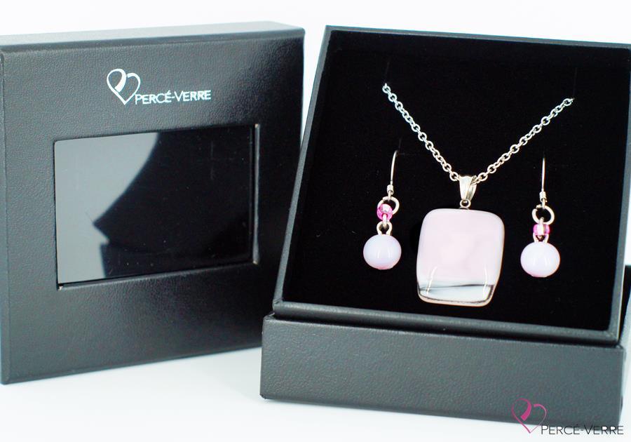 """Ensemble bijoux roses en verre fusionné, collection """"Classique"""""""