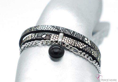 Bracelet en cuir à motif serpent avec breloque en verre, collection chic #1514