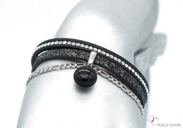 Bracelet en cuir noir scintillant, collection chic #1515