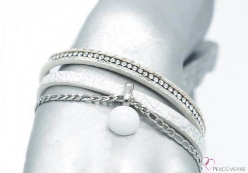 bracelet en cuir blanc avec breloque, collection chic #1519