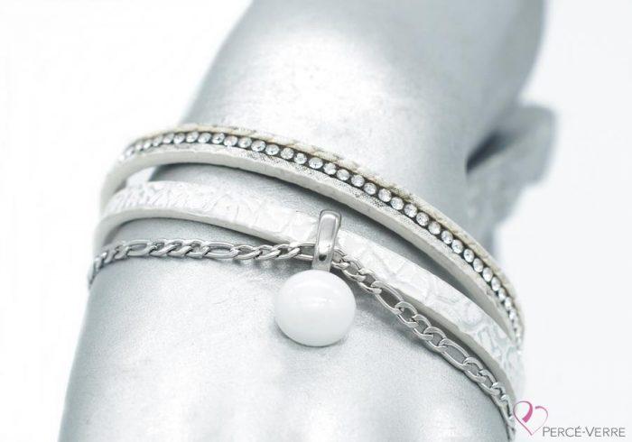 bracelet en cuir blanc avec breloque, collection chic #1519