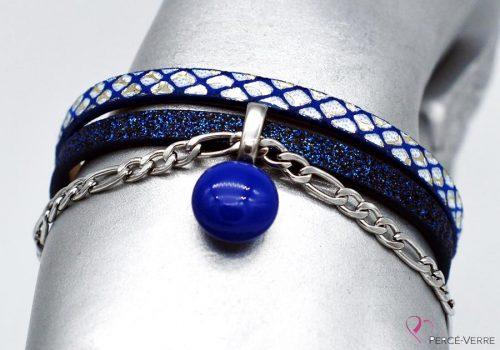Bracelet bleur scintillant avec breloque de verre #1524
