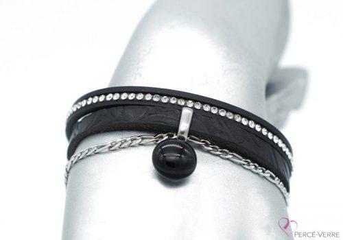 bracelet en cuir noir avec zircons et breloque de verre, collection chic #1550