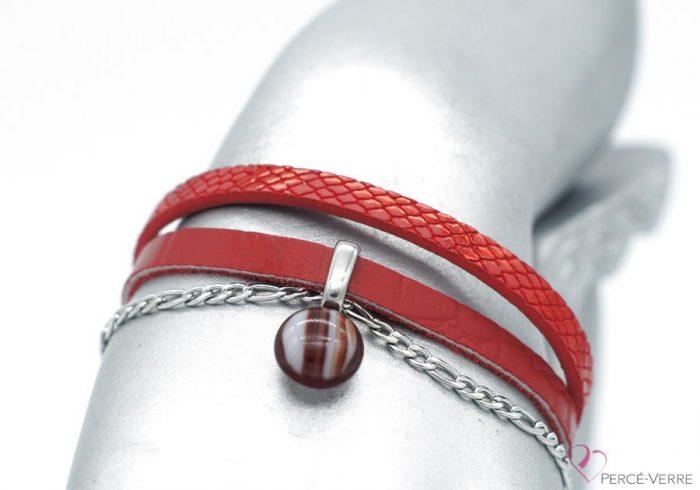 bracelet en cuir rouge avec breloque de verre #1553
