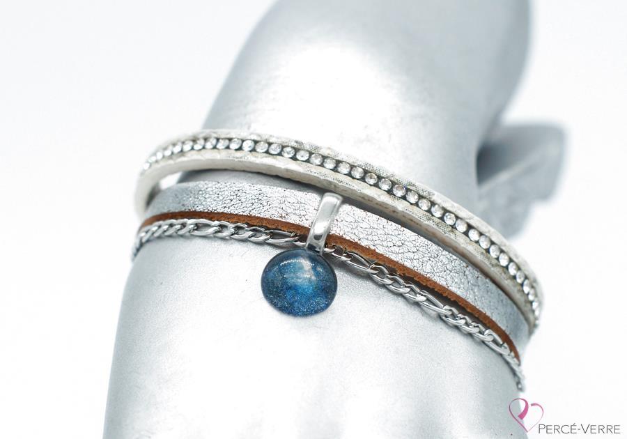 bracelet en cuir argent avec breloque de verre #1554