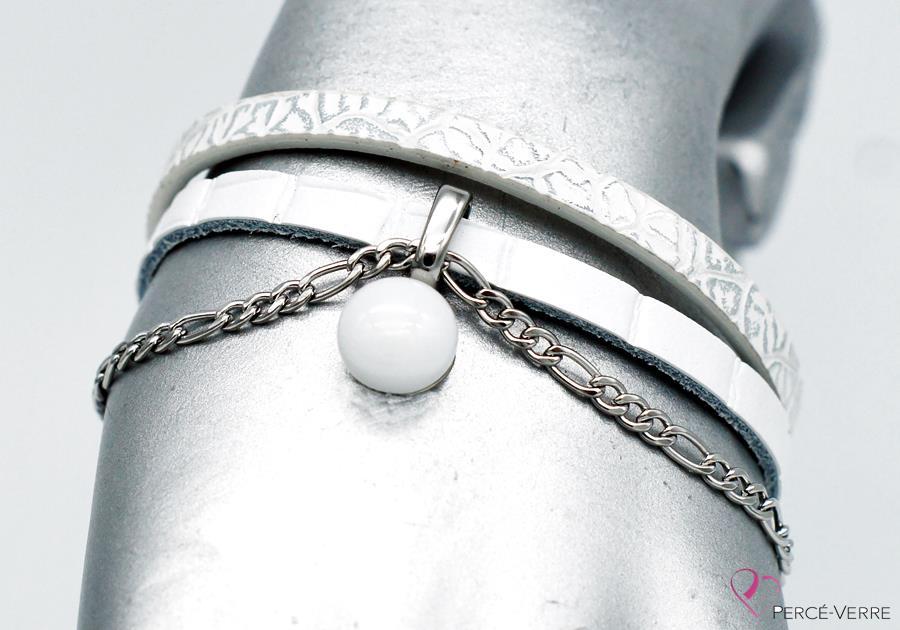 bracelet en cuir blanc éclatant,collection chic #1555