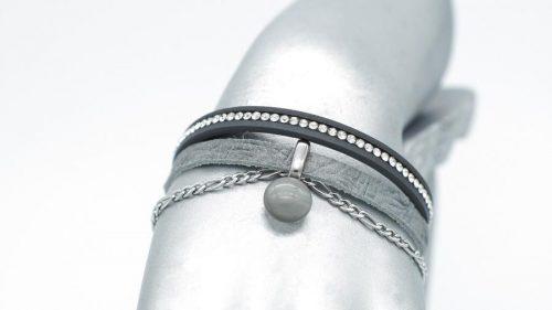 bracelet en cuir gris avec breloque de verre, collection chic #1556